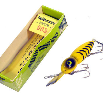 "Fishing Lure, Vintage, Whopper Stopper ""Hellbender"" color 903, Original Box, Excellent Condition, Collectible"