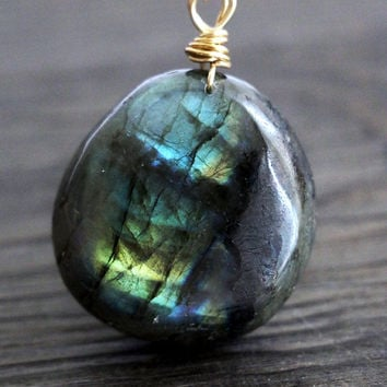 Large Blue Labradorite Necklace, Big Semi Precious Gem Stone Pendant Gold wire, simple, natural, gem, crystal unique, galaxy crystal chunk