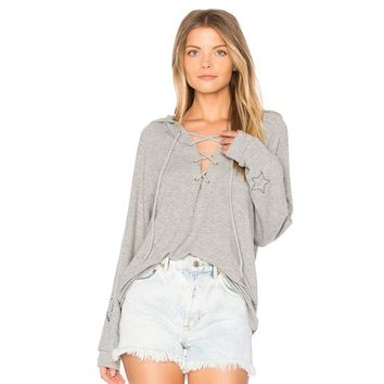 Fashion Dark Grey Casual Hoodies Women Lace Up Front Letters Printed Tie Collar Loose Pullovers Female New Tops