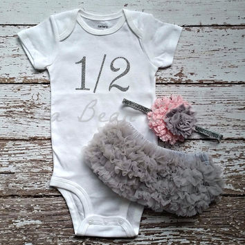 "Silver 1/2 Birthday Onesuit CAKE SMASH OUTFIT Baby Girl 1/2 Birthday Photo Prop 6 months Birthday ""1/2"" Bodysuit Silver Pink Grey Headband"