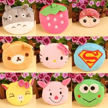 Cute Cartoon Plush Coin Purse Children Zipper Change Purse Wallet Pouch Bag For Kids Gift  Colors Random
