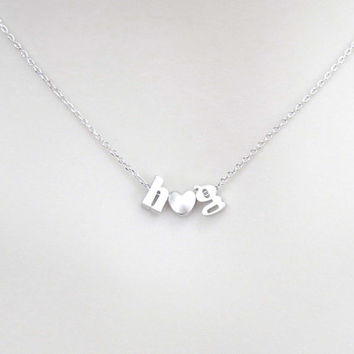 Personal, Lower case initial + heart + Lower case initial, Gold, Silver, Necklace, Lovers, Friends, Mom, Sister, Gift