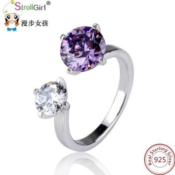 Violet and Diamond Fashion Openwork Rings For Women 925 Sterling Silver Couple Ring