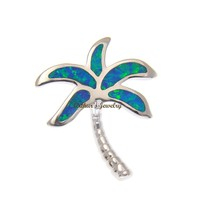 INLAY OPAL HAWAIIAN PALM TREE SLIDE PENDANT SOLID 925 STERLING SILVER 22MM