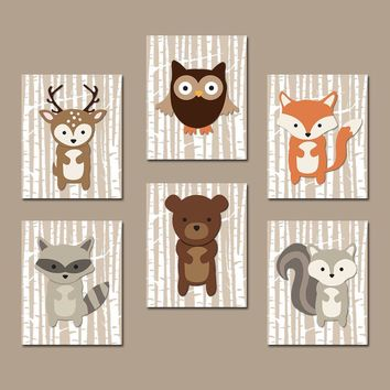 WOODLAND Nursery Decor, Woodland Wall Art, Canvas or Prints, Birch Wood Forest Animals, Woodland Bedroom Decor, Set of 6 Pictures Wall Decor
