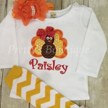 Thanksgiving Outfit Baby Girl - Turkey Embroidered Bodysuit, Headband & Legwarmers Set Personalized with Name