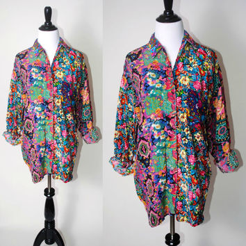 Vintage 1990s paper thin oversize  Indian Cotton long sleeve patchwork GRUNGE FLORAL Tribal print button down blouse shirt Small