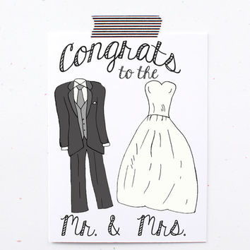 Congrats to the Mr. and Mrs. Happy wedding card. tuxedo and wedding dress card. wedding card. marriage card. To bride and groom card