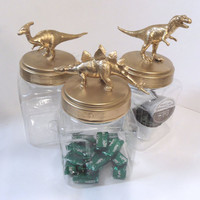 Gold Metallic Plastic Dinosaur Jars or Storage Containers - set of 3 - Kitchen, Dorm or Kids Room Decor