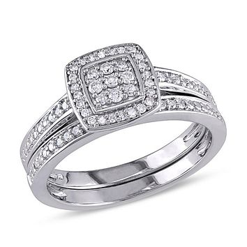 1/4 CT. T.W. Diamond Square Cluster Bridal Engagement Ring Set in Sterling Silver