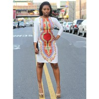 Sexy Slim Summer Dashiki Dress. African Print