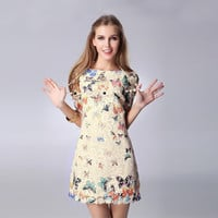 Sheer Sleeve Butterfly Print Floral Lace Mini Dress