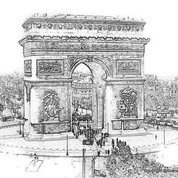 Arc Triomphe- Paris France Sketch 8x10 Abstract Drawing 19th century, vintage look, streets