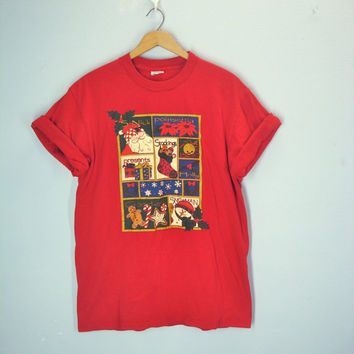 Vintage Ugly Christmas Tee Shirt, Christmas Tshirt, Holiday Tee Shirt, Size Medium