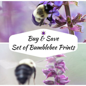 Purple Bumblebee Photo Set - Set of 2 Bee Photographs, fine art photography, nature wall art, Violet Mint Green Home Decor, lavender Garden