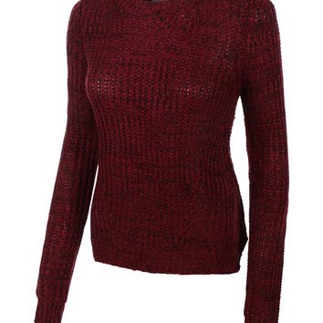 LE3NO Womens Marble Loose Knit Long Sleeve Pullover Sweater (CLEARANCE)