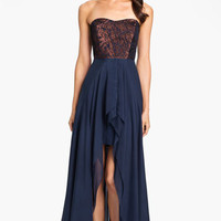 Nicole Miller Strapless Jacquard Bodice High/Low Silk Gown | Nordstrom