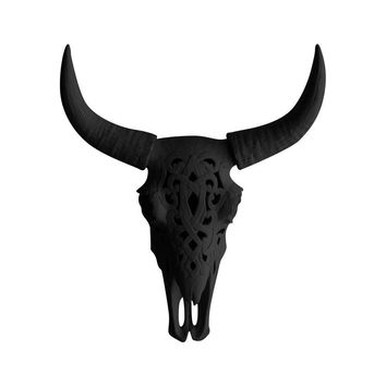 The Ledoux | Large Carved Cow Skull | Faux Taxidermy | Black Resin