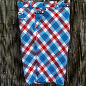 Red White Blue Plaid Men's 34 36 Golf Shorts by ROYAL & AWESOME Excellent LOUD
