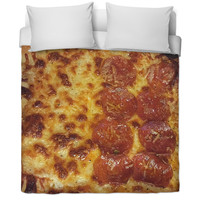 """""""His"""" and """"hers"""" side pizza duvet."""