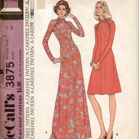 McCall's 3875 Sewing Pattern Retro 1970s Disco Style Maxi Midi Dress High Neck Evening Gown Plus Size Bust 38