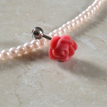 Pink Rose Belly Ring With Pink Rhinestone Ball Body Jewelry