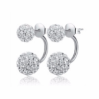 Silver Crystal Disco Ball Shamballa Stud Earrings