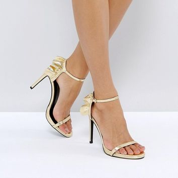 New Look Frill Back Two Part Heeled Sandal at asos.com