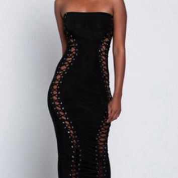 Steamy Encounter Strapless Cut Out Lattice Lace Up Bodycon Bandage Midi Dress - 2 Colors Available