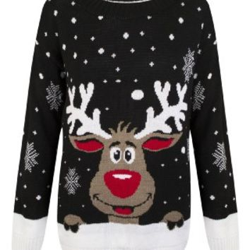 Womens Knitted Christmas Novelty Santa Reindeer Penguin Snowman Jumper SweaterUK 8/10 AUS 10/12 US 4/6Black White Reindeer