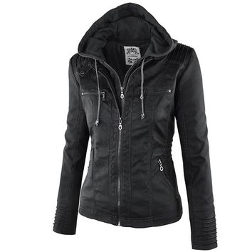 Winter Faux Leather Hooded  Slim Motorcycle Jacket