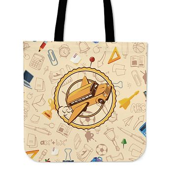 Flying School Bus Linen Tote Bag