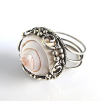 silver shell wire wrapped ring by anniejewelry on Etsy