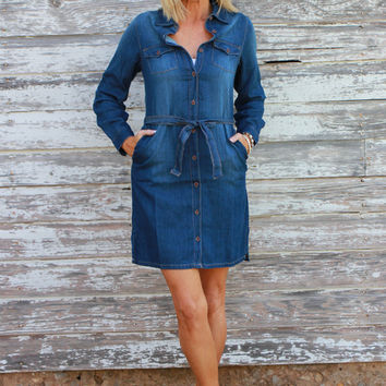 Unexpected Love Button Down Dress With Waist Tie ~ Denim ~ Sizes 4-12
