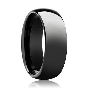 Aydins Tungsten Ring Black Shiny Polished Domed Wedding Band 6mm - 8mm Tungsten Carbide Wedding Ring