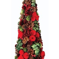"Artificial Pine Cone & Red Berry Topiary Tree - 19"" Tall"
