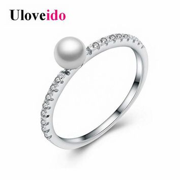 Uloveido Genuines 925 Sterling Silver Elegant Pearl Stackable Rings Women Wedding Engagement Ring Jewelry with Free Box 5% WE248