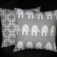 """Pillow Covers Gray and White Elephant Kids Pillows 16"""" Decorator Pillows Nursery Decor 16 x 16 Inches Chain Link"""