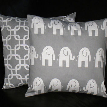"Pillow Covers Gray and White Elephant Kids Pillows 16"" Decorator Pillows Nursery Decor 16 x 16 Inches Chain Link"
