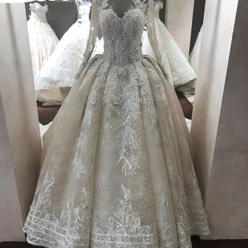 Champagne Color Wedding Dress With Long Sleeves
