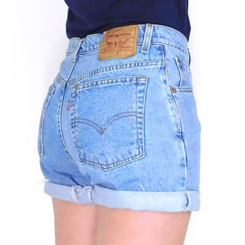 Sz 9/10 90s Levis High Waisted Denim Cutoff Jean Shorts - Vintage Relaxed Fit Cuffed Stone Wash Blue Women's Levis Shorts - 30 Waist