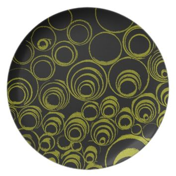 Yellow circles, rolls, ovals abstraction pattern dinner plate