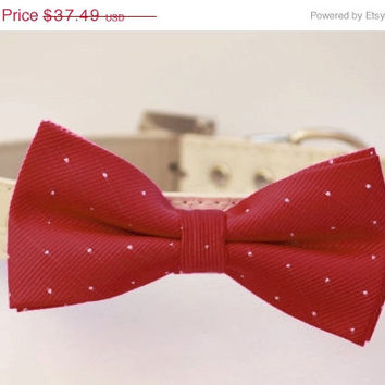 Red Silver Dog Bow Tie with high quality leather collar - Cute Christmas Gift