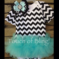 Chevron Tutu Onesuit with Matching Hair Bow