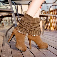 ca ICIKTM4 On Sale Hot Deal Waterproof High Heel Shoes Skinny Stretch Boots [11144746823]