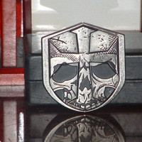 Pre-Owned Chrome 6078 Skull and Cross Belt Buckle