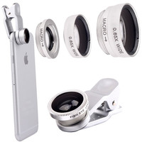Silver 3 in 1 Clip-On 180 Degree Fisheye 0.67X Wide Angle 10X Macro Mobile Phone Camera Lens For iPhone 6/6 Plus,5 5S 4S Samsung