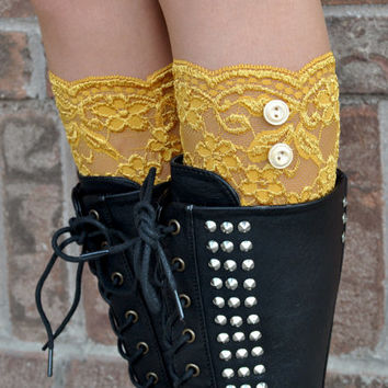 Lace Boot Cuffs - Faux Lace Boot Socks - Faux Lace Leg Warmers - Lace Boot Topper - Boot Topper - Faux Knee High Sock - Womens - Gold