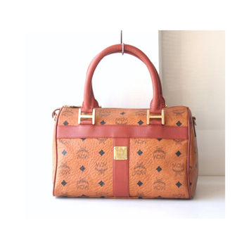 MCM Bags Visetos Cognac Brown Monogram Boston vintage authentic handbag purse 80's