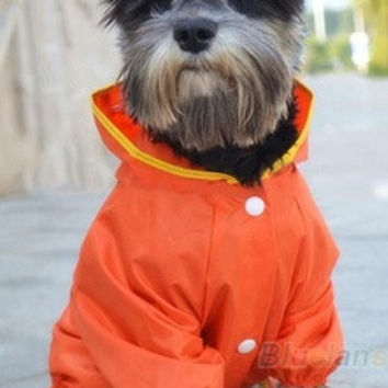 Winter Waterproof Pet Dog Hooded Hoodie Raincoat Slicker Dust Coat Clothes L/M/S [8384025031]